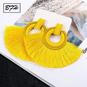 New Anthro bohemian fashion tassel yellow earrings